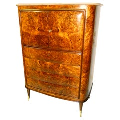 Osvaldo Borsani Attributed Tall Cabinet with Marble Top and Parchment Interiors