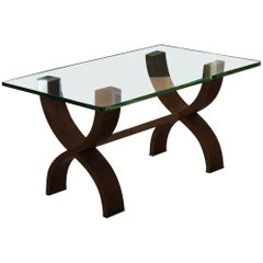 Osvaldo Borsani Coffe' Table Brass Glass Wood 1950 Italy
