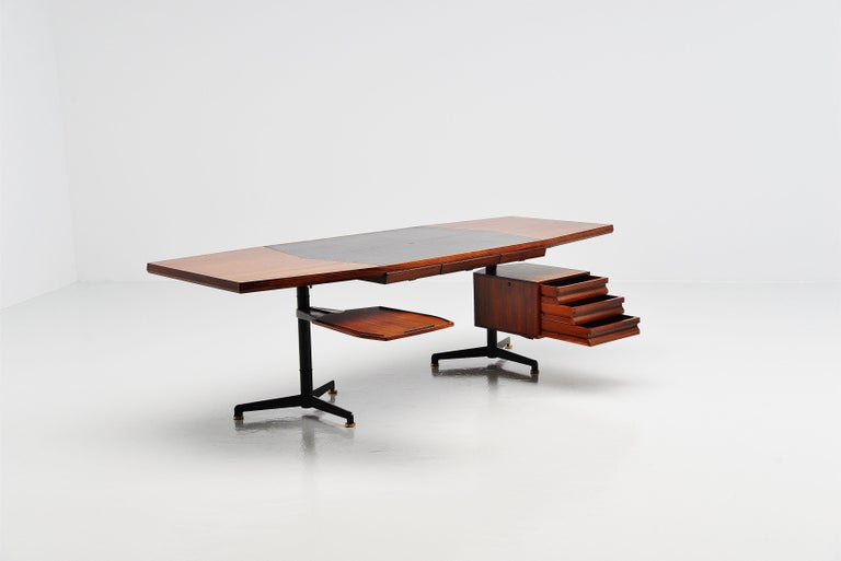 Mid-20th Century Osvaldo Borsani Conference Desk Table Tecno, Italy, 1954 For Sale