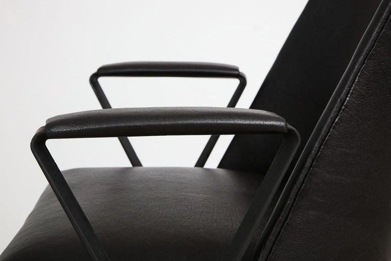 P99 desk chair by Osvaldo Borsani for Tecno. Enameled steel, brass and leather. Applied Tecno label. A rare and very special Tecno design. Recently reupholstered. Published: Osvaldo Borsani – architect, designer, entrepreneur. Giampiero Bosoni. Pgs.