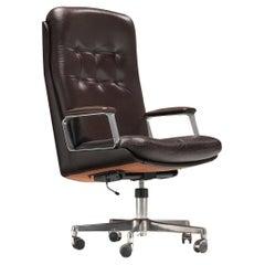 Osvaldo Borsani Desk Chair in Dark Brown Leather