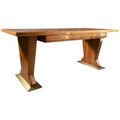 Osvaldo Borsani Desk Table Walnut Leather Rare, Italian, 1940s