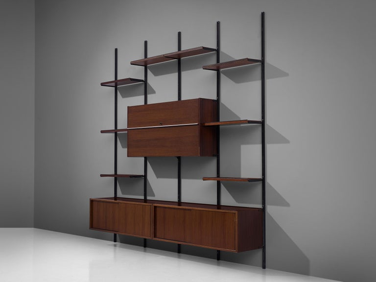 Osvaldo Borsani for Tecno, wall unit, metal and walnut, Italy, 1950s.