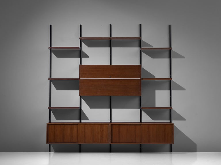 Mid-Century Modern Osvaldo Borsani E22 Modular Wall Unit in Walnut For Sale
