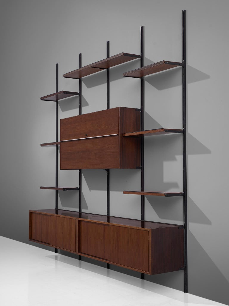Italian Osvaldo Borsani E22 Modular Wall Unit in Walnut For Sale