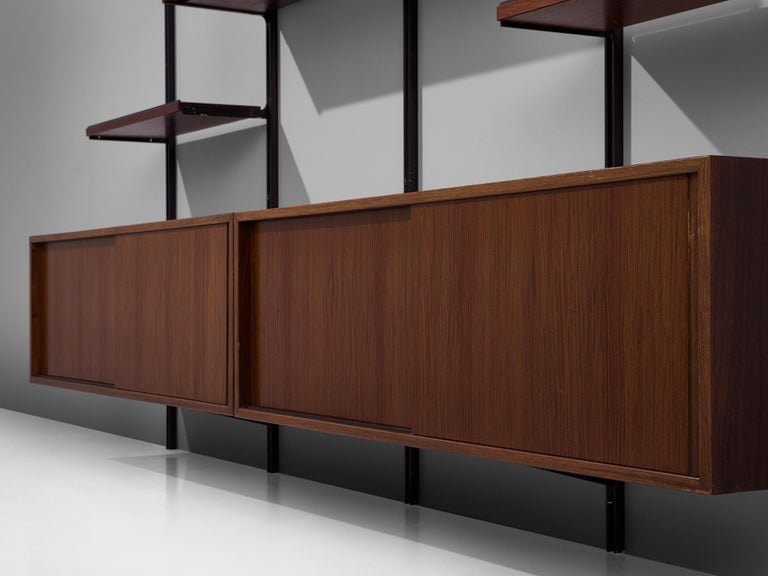Metal Osvaldo Borsani E22 Modular Wall Unit in Walnut For Sale