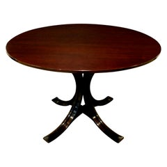 Osvaldo Borsani Elegant Table in Mahogany with Bentwood Base, circa 1960