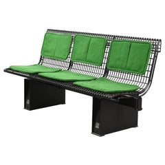 Osvaldo Borsani Enameled Steel Bench for Tecno, Green Upholstery, Italy, 1980s