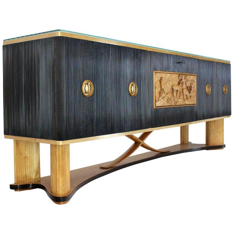Osvaldo Borsani Extra Long Sideboard Bar Cabinet Credenza Italian Modern For