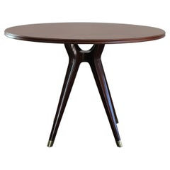 Osvaldo Borsani for Arredamenti Borsani Italian Dark Wood Round Table, 1951