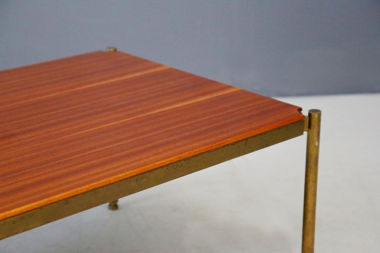 Mid-20th Century Osvaldo Borsani for Tecno Coffee Table Midcentury in Brass and Wood, 1950s For Sale