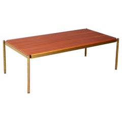 Osvaldo Borsani for Tecno Coffee Table Midcentury in Brass and Wood, 1950s