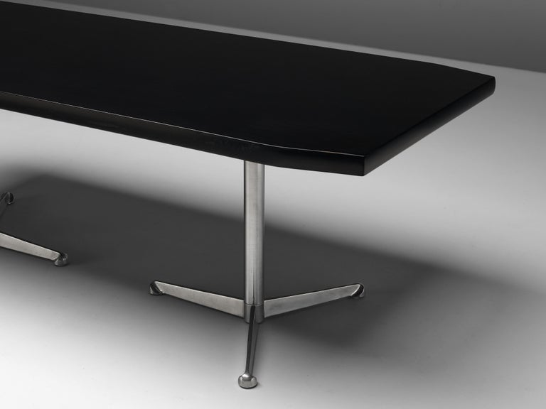 Mid-Century Modern Osvaldo Borsani for Tecno Conference or Dining Table in Wood and Metal For Sale