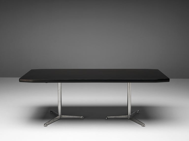 Mid-20th Century Osvaldo Borsani for Tecno Conference or Dining Table in Wood and Metal For Sale