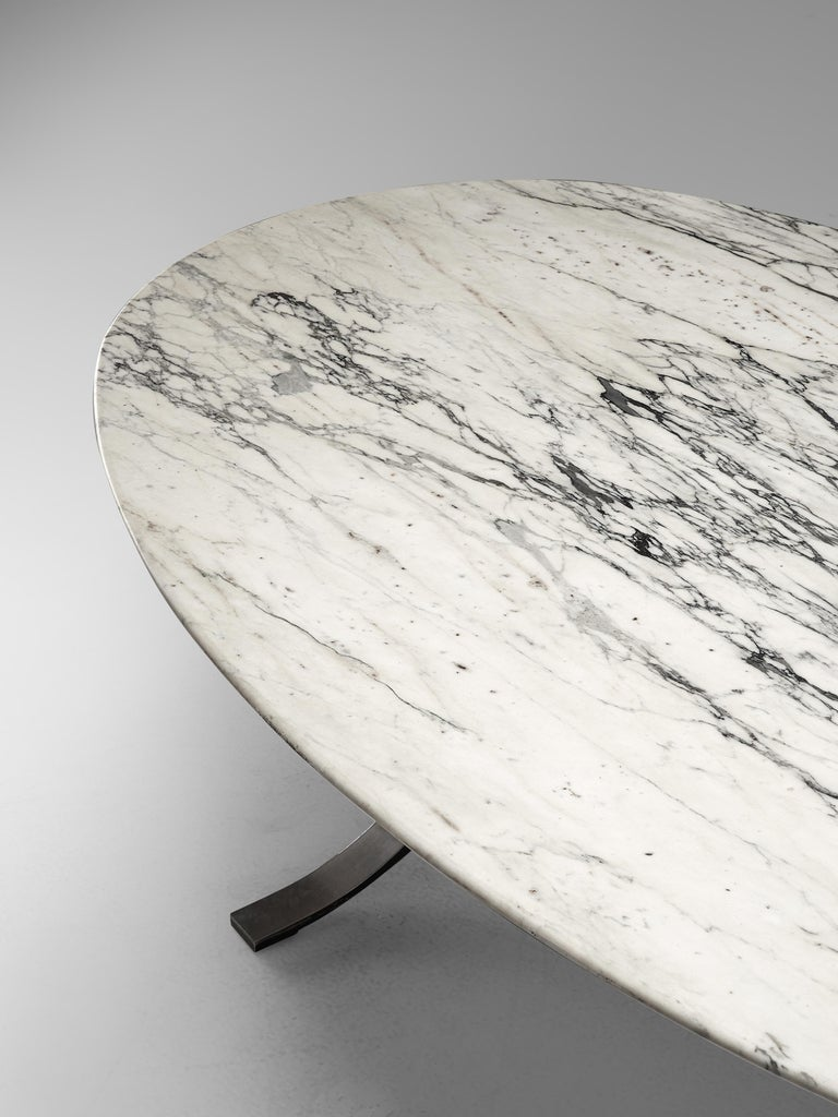 Mid-Century Modern Osvaldo Borsani for Tecno Dining Table T102 in Marble and Steel For Sale