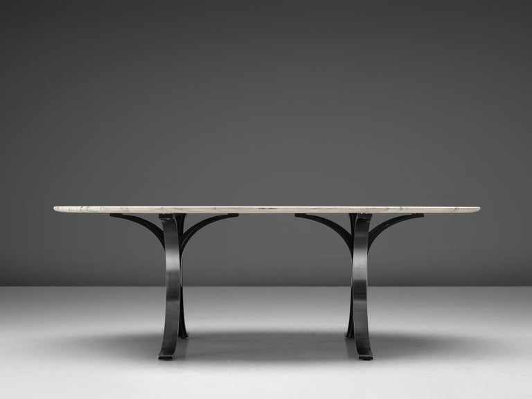 Italian Osvaldo Borsani for Tecno Dining Table T102 in Marble and Steel For Sale