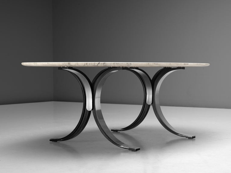 Mid-20th Century Osvaldo Borsani for Tecno Dining Table T102 in Marble and Steel For Sale