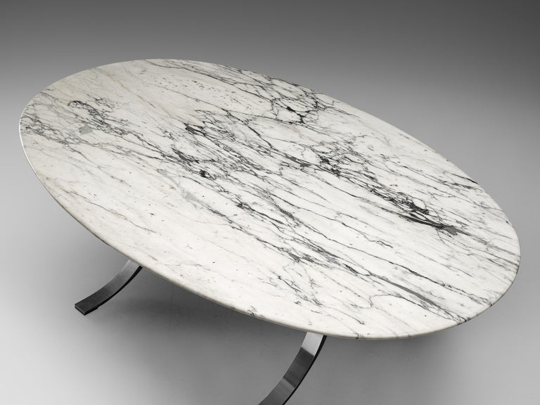 Metal Osvaldo Borsani for Tecno Dining Table T102 in Marble and Steel For Sale