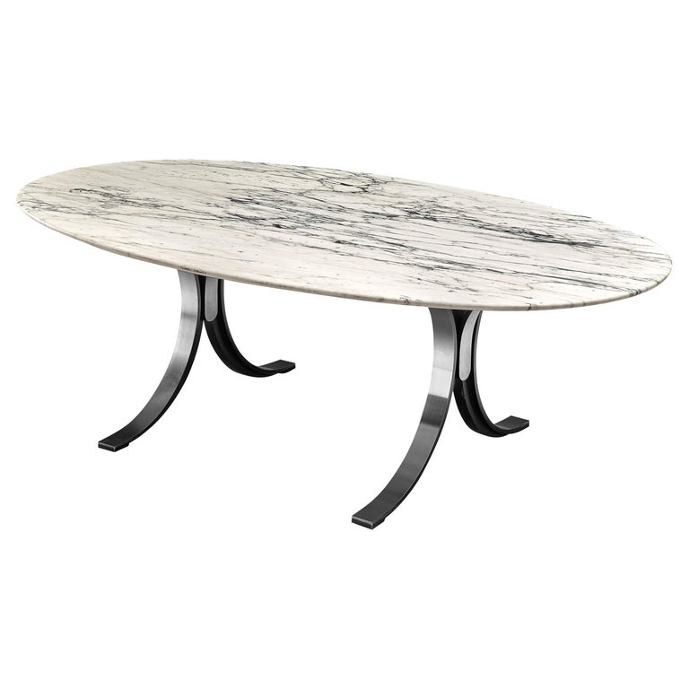 Osvaldo Borsani for Tecno Dining Table T102 in Marble and Steel For Sale