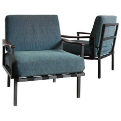 Osvaldo Borsani for Tecno Italian Midcentury Blue Fabric Armchairs, 1960s