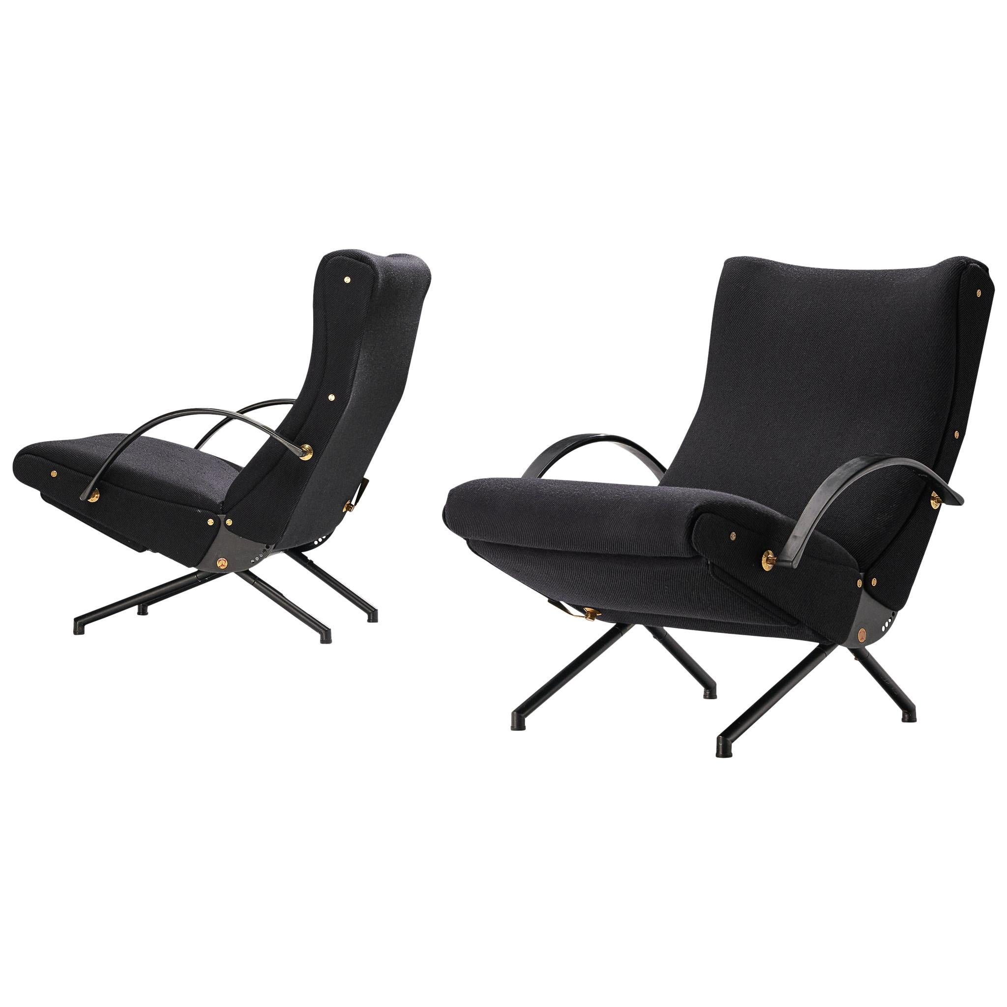 Osvaldo Borsani for Tecno Pair of 'P40' Lounge Chairs