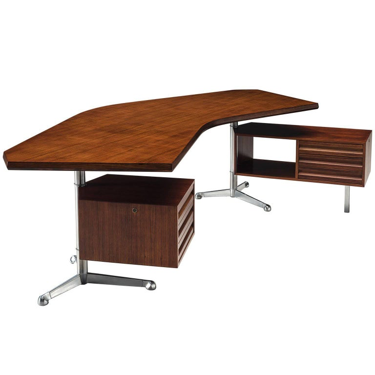 Osvaldo Borsani for Tecno Refinished Boomerang Desk