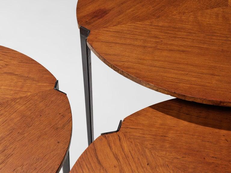 Mid-Century Modern Osvaldo Borsani for Tecno Set of Nesting Tables in Teak For Sale