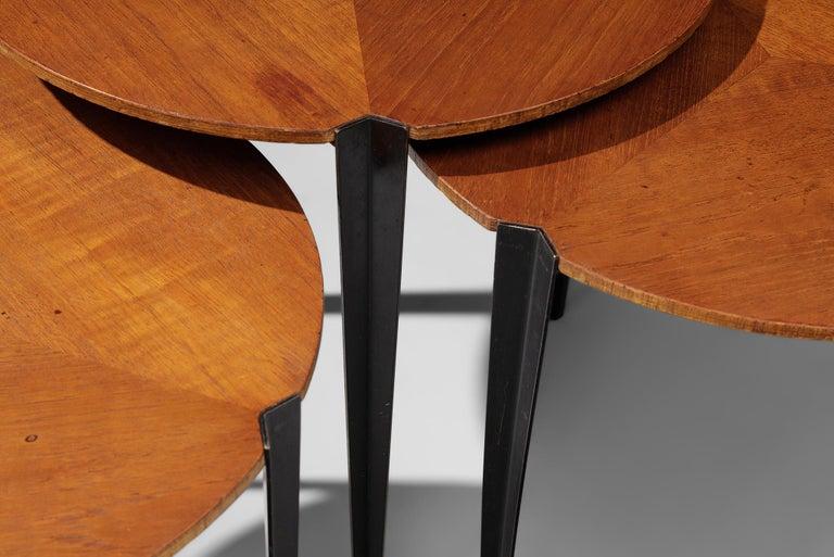 Metal Osvaldo Borsani for Tecno Set of Nesting Tables in Teak For Sale