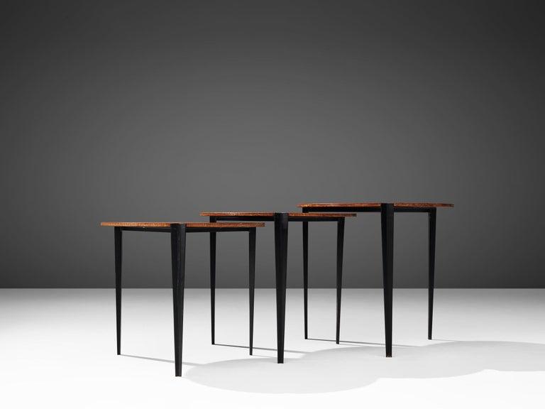 Osvaldo Borsani for Tecno Set of Nesting Tables in Teak For Sale 1