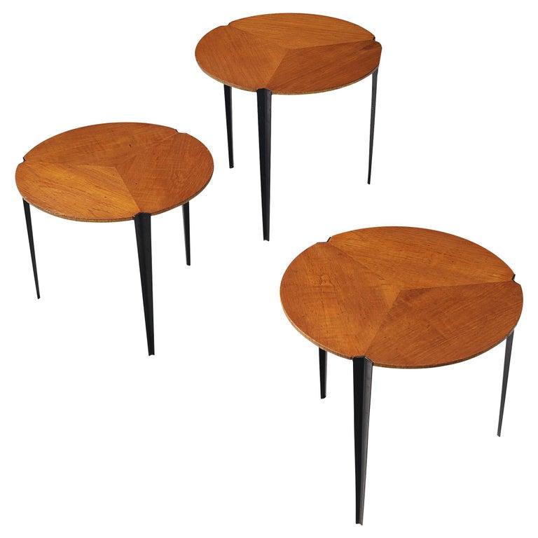 Osvaldo Borsani for Tecno Set of Nesting Tables in Teak For Sale