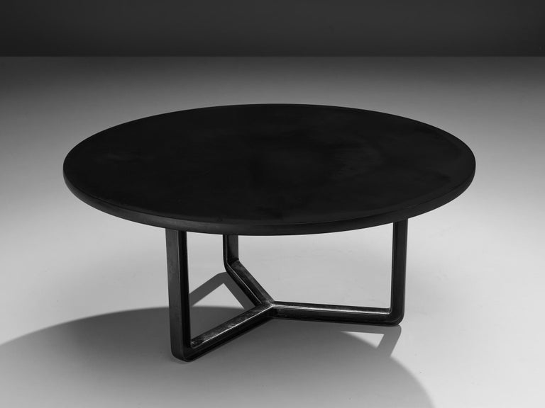 Osvaldo Borsani for Tecno, conference table T334-C, aluminum and wood, Italy, 1975-1978.  Round dining table with a round top. The base consists out of a three-legged metal frame which creates an open character. It was at the time that founder and