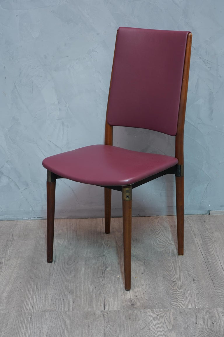 Mid-20th Century Osvaldo Borsani for Tecno Wood and Leather Chairs, 1960 For Sale
