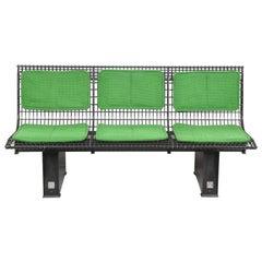 Osvaldo Borsani Green Fabric and Enameled Steel Italian Bench for Tecno, 1982