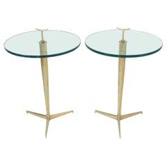 Osvaldo Borsani Italian Brass and Glass Side Tables