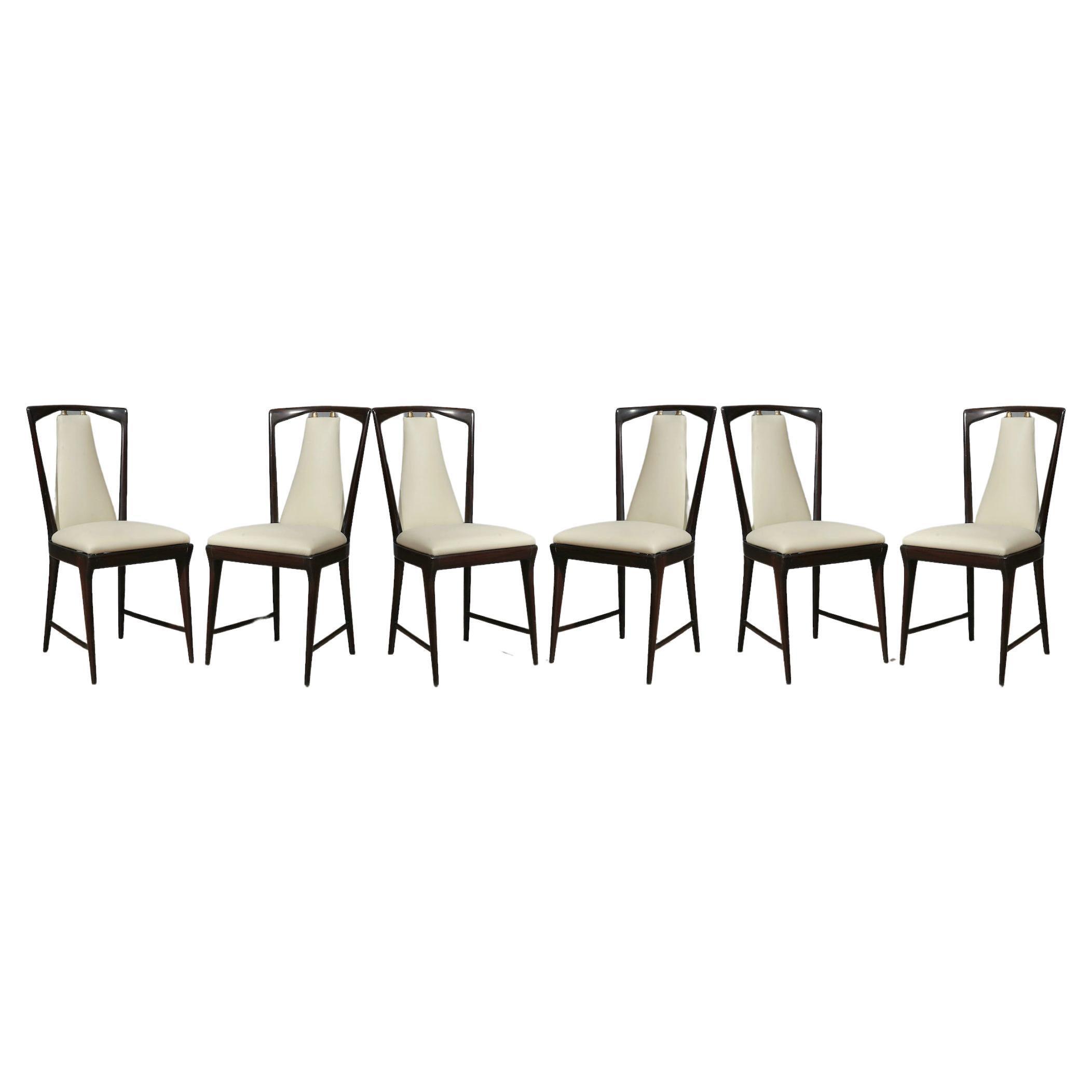 Osvaldo Borsani Mahogany and Leather Italian 6 Chairs, 1950
