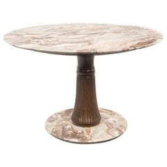 Osvaldo Borsani Midcentury Style Round Table in Wood and Marble Macchiavecchia