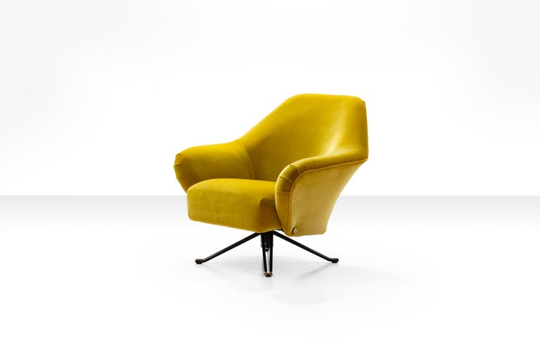 Osvaldo Borsani P32 Lounge Chair In Ochre Yellow Velvet