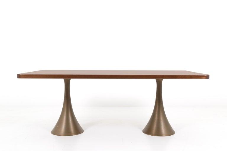 Mid-Century Modern Osvaldo Borsani Rare Italian Table in Bronze, 1971 For Sale