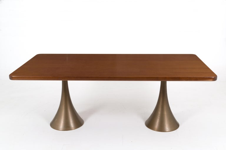 Osvaldo Borsani Rare Italian Table in Bronze, 1971 In Good Condition For Sale In Milano, IT