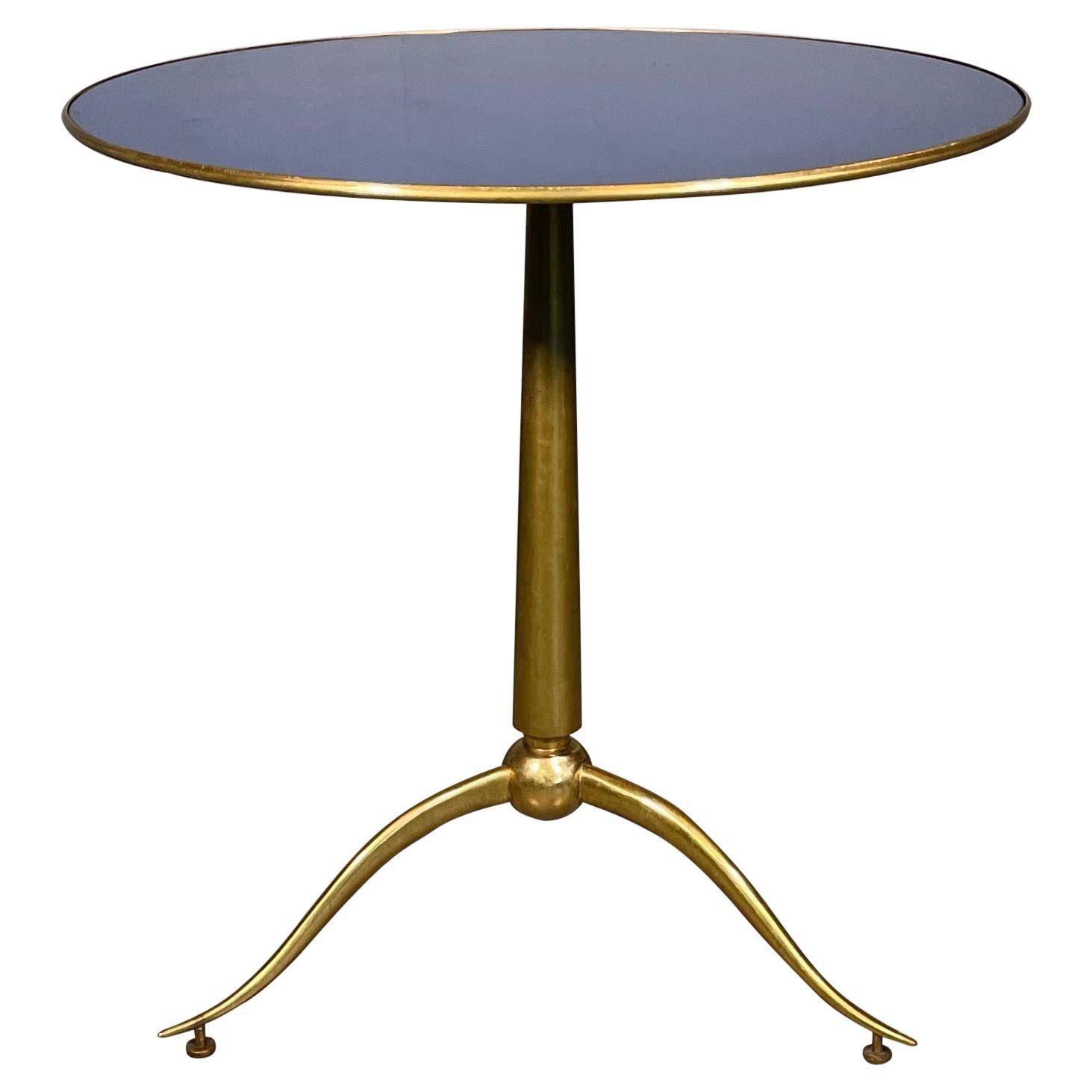 Osvaldo Borsani Rare of Blue Glass and Brass Side Table