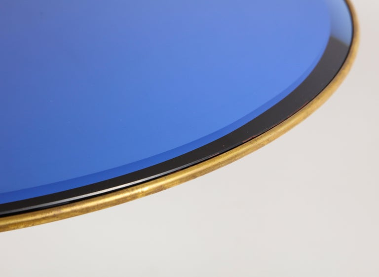Mid-20th Century Osvaldo Borsani Rare Pair of Side Tables in Brass and Blue Glass For Sale