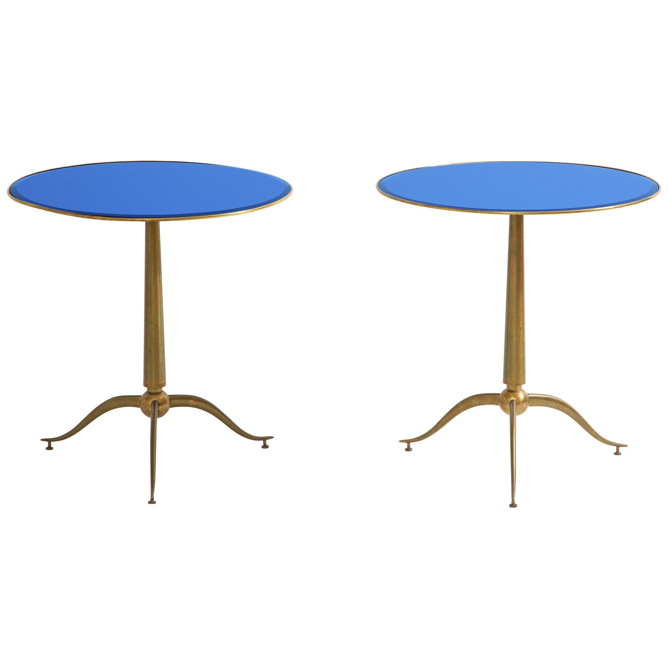 Osvaldo Borsani Rare Pair of Side Tables in Brass and Blue Glass