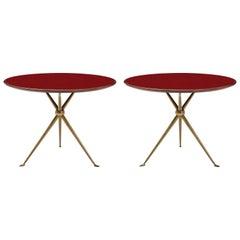 Osvaldo Borsani Rare Pair of Side Tables in Brass and Glass