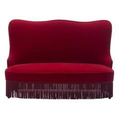 Osvaldo Borsani Red Velvet Banquette