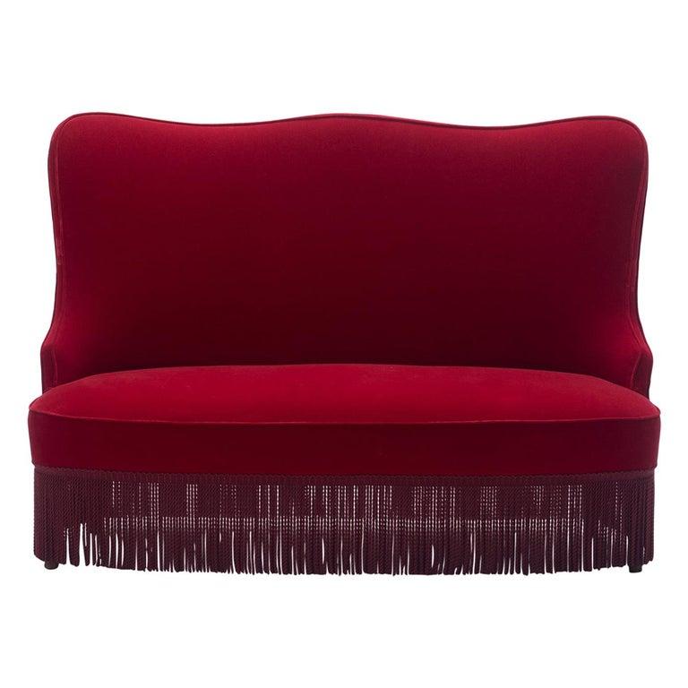 Osvaldo Borsani Red Velvet Banquette For Sale