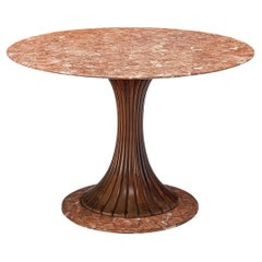 Osvaldo Borsani Round Dining Table in Red Marble and Walnut