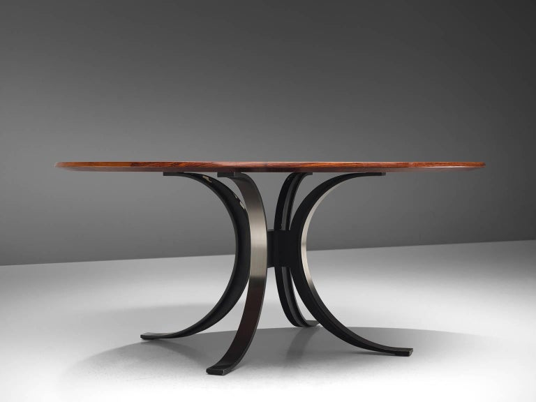 Mid-Century Modern Osvaldo Borsani Round Rosewood Table for Tecno