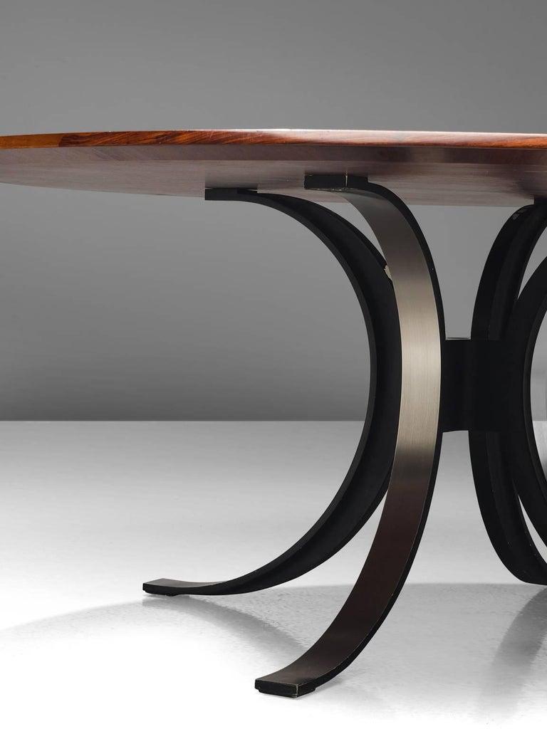Italian Osvaldo Borsani Round Rosewood Table for Tecno