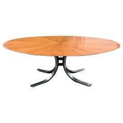 Osvaldo Borsani Starburst Wood Top Oval Dining Room Table Stow Davis