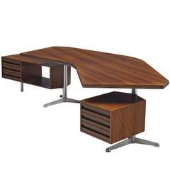 Osvaldo Borsani 'T-96' Boomerang Desk in Rosewood